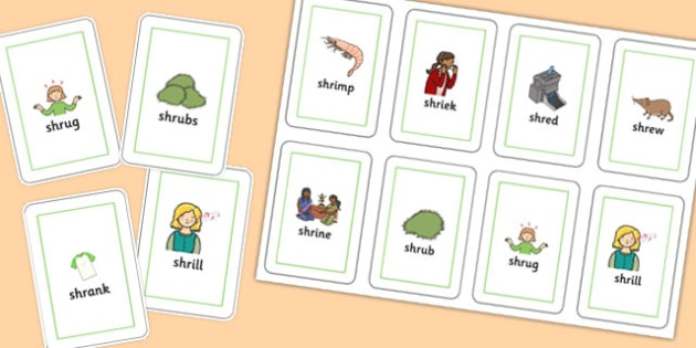 SHR Playing Cards - speech sounds, phonology, articulation, speech therapy, cluster reduction