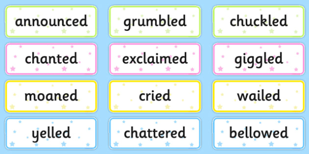 Said Synonyms Word Cards - alternate, vocabulary, language, writing, speaking and listening, early years, ks1, key stage 1, ks2, activity, visual aid