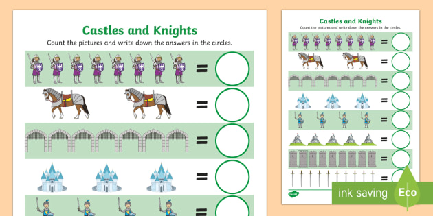 my counting worksheet activity sheet castles and knights. Black Bedroom Furniture Sets. Home Design Ideas