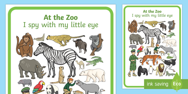 At the Zoo Themed I Spy With My Little Eye Activity - I spy