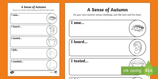 A Sense of Autumn Senses Challenge Activity Sheet - A, Sense