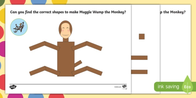 monkey shape worksheet activity sheet pack to support teaching on the enormous crocodile muggle