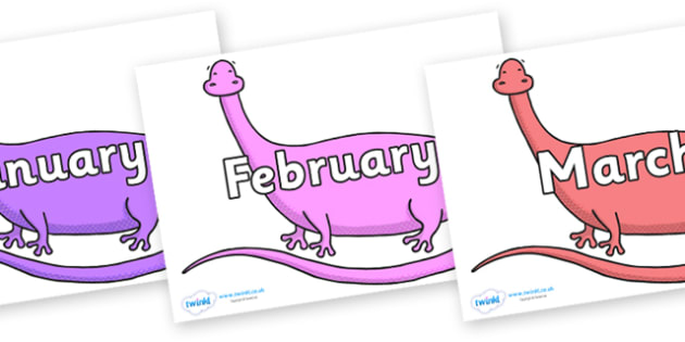 Months of the Year on Anchisaurus - Months of the Year, Months poster, Months display, display, poster, frieze, Months, month, January, February, March, April, May, June, July, August, September