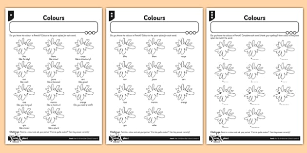 french colours worksheet activity sheet french activity colours sheet worksheet - Colour Activity Sheets