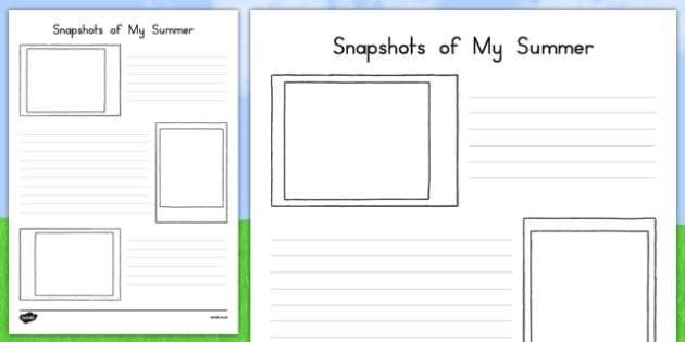 Snapshots of my Summer Activity Sheet, worksheet
