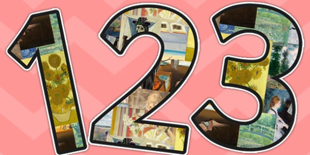 Impressionists, Expressionists and Surrealists Themed A4 Display Numbers