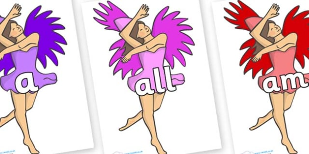 Foundation Stage 2 Keywords on Dancers - FS2, CLL, keywords, Communication language and literacy,  Display, Key words, high frequency words, foundation stage literacy, DfES Letters and Sounds, Letters and Sounds, spelling