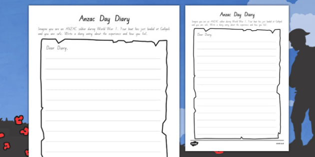 Anzac Day Diary Writing Template
