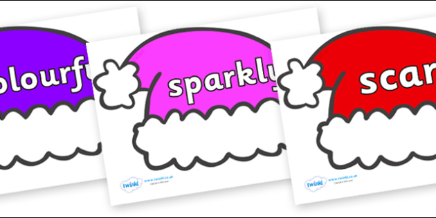 Wow Words on Santa Hats - Wow words, adjectives, VCOP, describing, Wow, display, poster, wow display, tasty, scary, ugly, beautiful, colourful sharp, bouncy