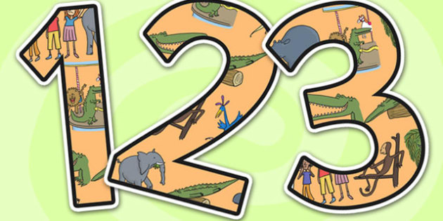 Themed A4 Display Numbers to Support Teaching on The Enormous Crocodile - the enormous crocodile, themed numbers, A4, numbers for display, display numbers, display, numbers, themed