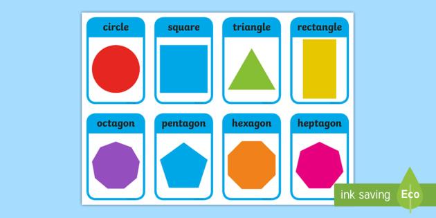 2d Shape Flashcards Inc Shape Names 2d Shape Names Shape