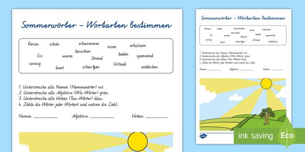 Sommerwörter Wortarten bestimmen Arbeitsblatt - Sommer