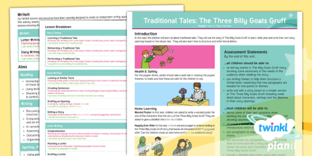 PlanIt Y4 Traditional Tales: The Three Billy Goats Gruff Topic Overview, english, year 4, KS2, literacy