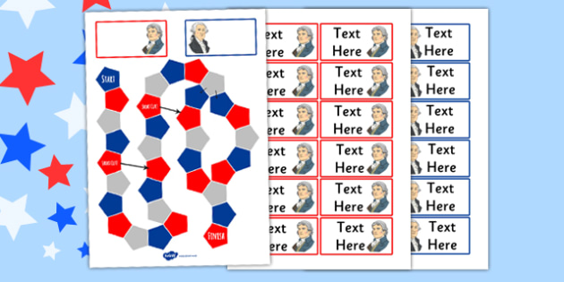 Independence Day Themed Editable Board Game - 4th of July Board Game Activity