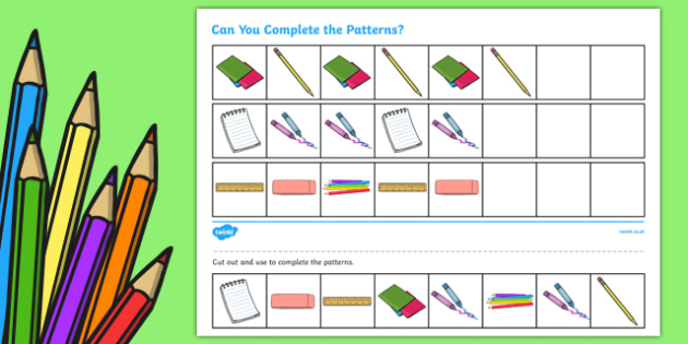 Back to School Complete the Pattern Worksheet / Activity Sheet, worksheet