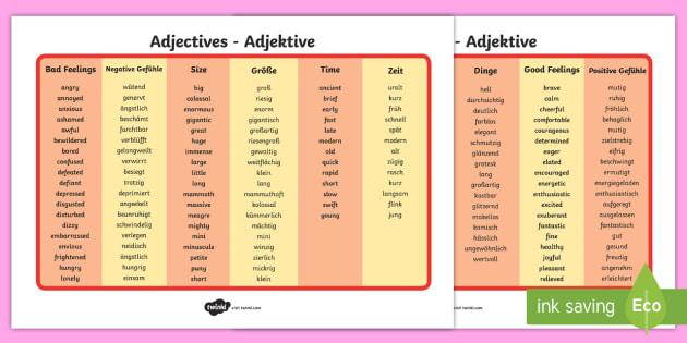 Adjective Word Mat English German Englisch