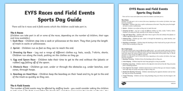 EYFS Races and Field Events Sports Day Guide