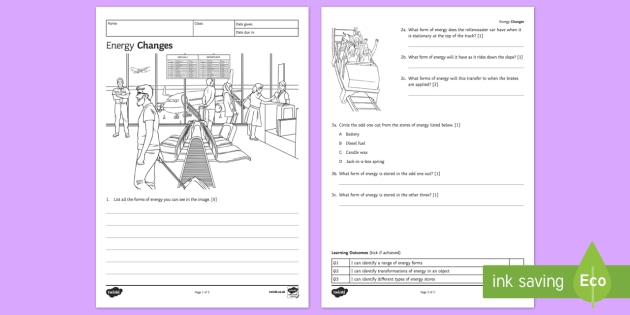 KS3 Energy Changes Homework Worksheet / Worksheet