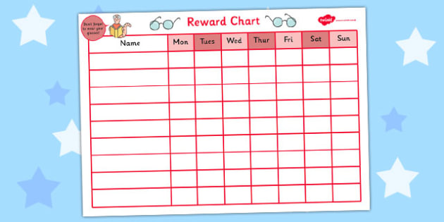 Reward Sticker Chart For Wearing Glasses  Reward Sticker