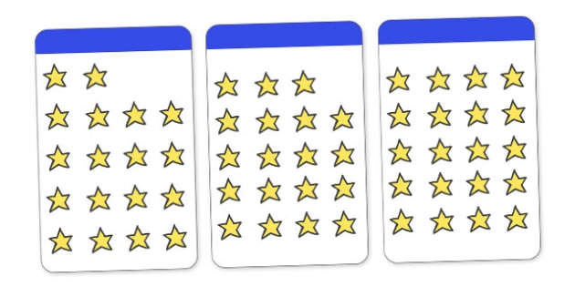 Count the Stars Activity Cards (1-20) - Maths, Math, star, stars, counting, Counting on, Counting back, counting card, counting activity, one to one counting, flashcard, matching cards