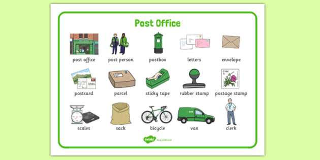 AN Post Office Word Mat -  roi, republic, ireland, irish, post, postal, mail, office, letters, parcel, send, sending, writing, write, literacy, english