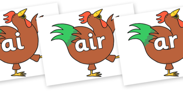 Phase 3 Phonemes on Hullabaloo Rooster to Support Teaching on Farmyard Hullabaloo - Phonemes, phoneme, Phase 3, Phase three, Foundation, Literacy, Letters and Sounds, DfES, display
