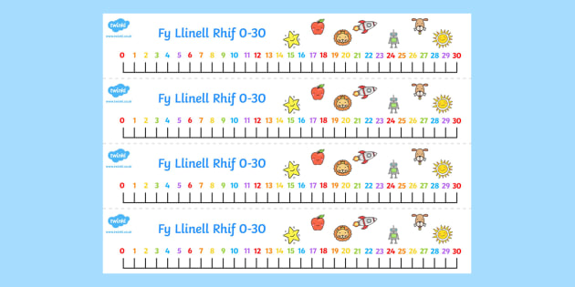 Fy Linell Rif 0-30 - welsh, number, line, 0-30, numbers