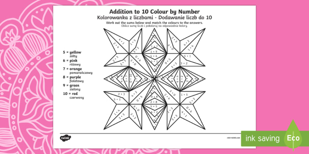 Rangoli Patterns Addition to 10 Colour by Number English/Polish - Diwali, Hindu, Hinduism, festival, light, rama, sita, diva, diwa, lamp, fireworks, ,Polish-translati