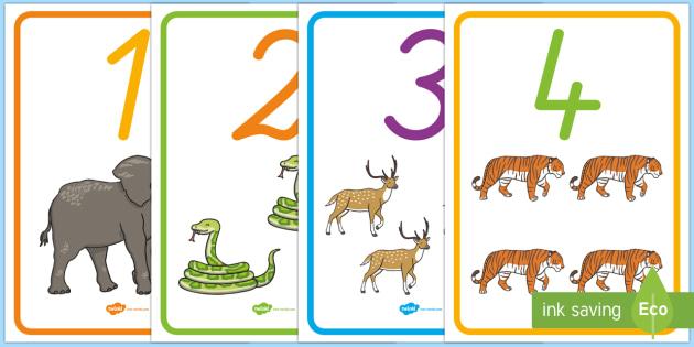 Posterkollektion für die Klassenraumgestaltung: Zahlen 0 - 20 mit Tierbildern - Zahlen 0 - 20, Poster, Zahlen ,German,Tierbildern deutsch
