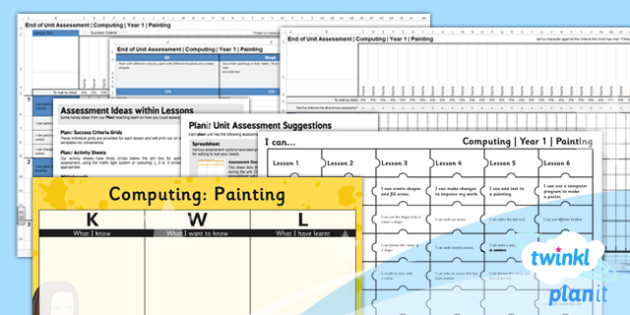 Computing: Painting Year 1 Unit Assessment Pack