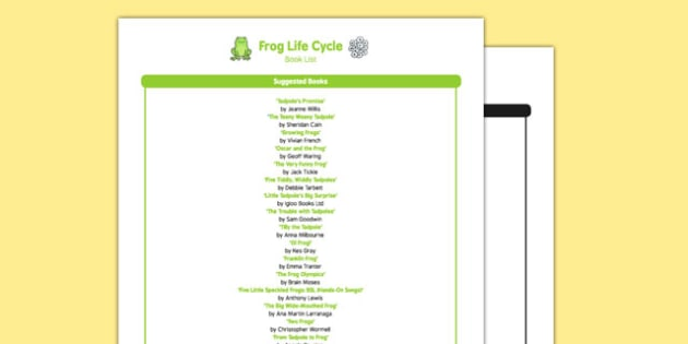 Frog Life Cycle Book List - EYFS, Early years, stories, non-fiction, Understanding the World, tadpole, growth, reading