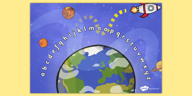 Space Alphabet Arc - Alphabet Arc, space, mat, DfES Letters and Sounds, Letters and sounds, Letters A-Z, Learning Letters, Phase one, Phase 1 Foundation Letters