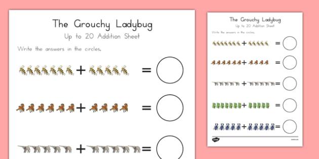 The Grouchy Ladybug Up to 20 Addition Sheet - usa, america, the grouchy ladybug, addition, 20