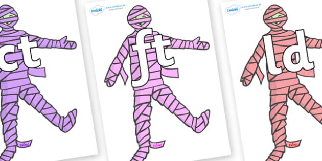 Final Letter Blends on Mummies (Multicolour) - Final Letters, final letter, letter blend, letter blends, consonant, consonants, digraph, trigraph, literacy, alphabet, letters, foundation stage literacy