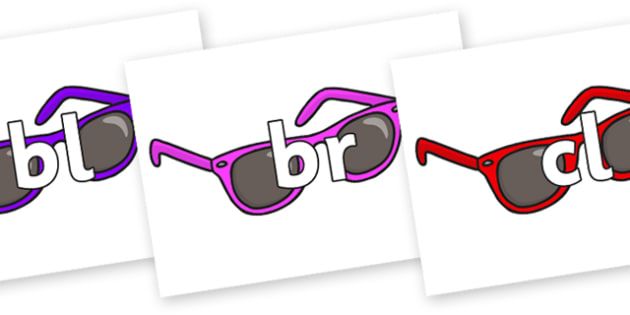 Initial Letter Blends on Sunglasses - Initial Letters, initial letter, letter blend, letter blends, consonant, consonants, digraph, trigraph, literacy, alphabet, letters, foundation stage literacy