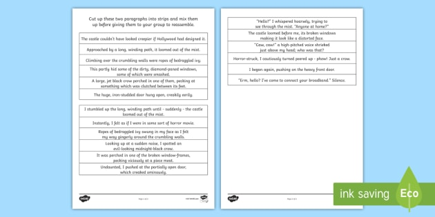 LKS2 Grammatical Consistency Separating Two Paragraphs Worksheet
