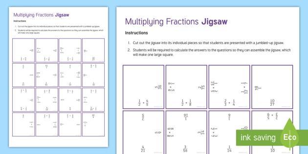 Multiplying Fractions Jigsaw Worksheet / Activity Sheet - Secondary, Maths, KS3, Mixed Number Fractions, Improper Fractions, Simplify, Simplest, Jigsaw, Numer