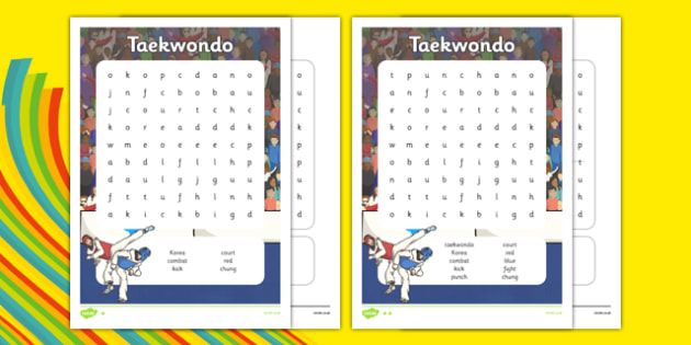 The Olympics Taekwondo Differentiated Word Search - the olympics, rio olympics, 2016 olympics, rio 2016, taekwondo, word search