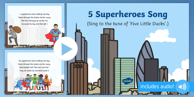 5 superheroes song powerpoint superheroes superhero