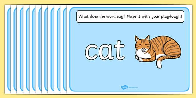 CVC Word Playdough Mats (a) - CVC, CVC word, playdough mat, playdough, three phoneme words, three sound words, consonant vowel consonant, words, three letter words, letters and sounds, DfES letters and sounds