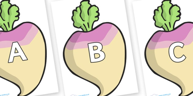 A-Z Alphabet on Turnips - A-Z, A4, display, Alphabet frieze, Display letters, Letter posters, A-Z letters, Alphabet flashcards