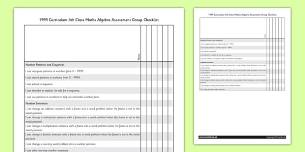 1999 Curriculum 4th Class Maths Algebra Assessment Group Checklist - roi, gaeilge, maths, curriculum, 1999
