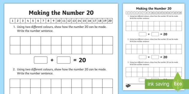 Ways of Making 20 Worksheet / Worksheet - arrays, number bonds, adding