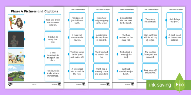 Phase 4 Pictures and Captions Matching Worksheets - phase 4, phase four, pictures, captions, matching, match, worksheet