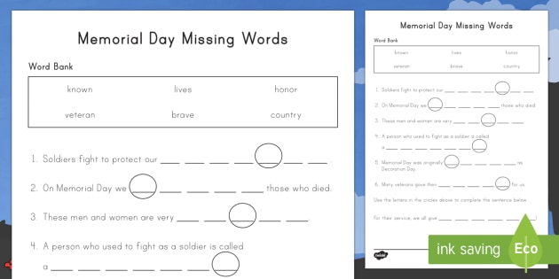 Memorial Day Missing Words Activity Sheet Memorial Day – Word of the Day Worksheet