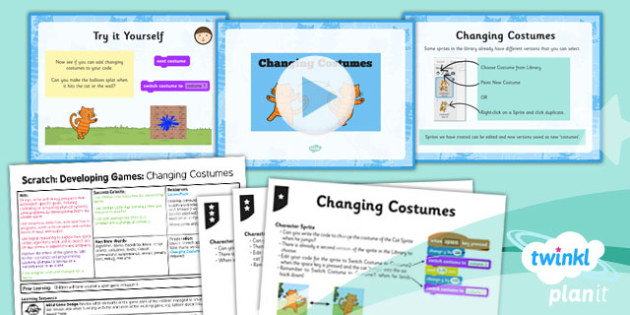 Computing: Scratch: Changing Costumes Year 5 Lesson Pack 5