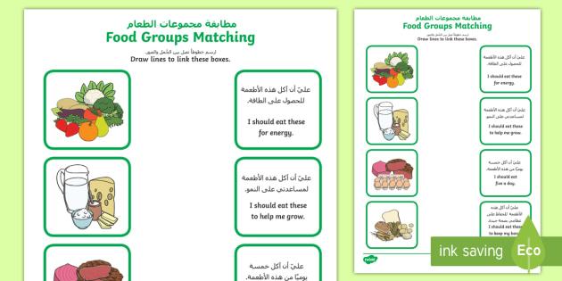 New Food Group Matching Activity Sheet Arabic English Food Group Matching Activity