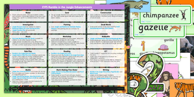 EYFS Enhancement Ideas and Resource Pack to Support Teaching on Rumble in the Jungle - planning