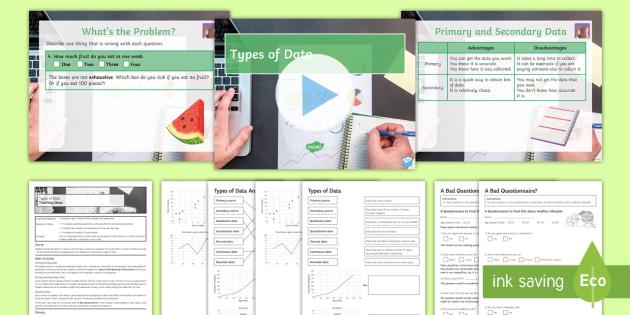 Types of Data Lesson Pack - Core, statistics, qualitative, quantitative