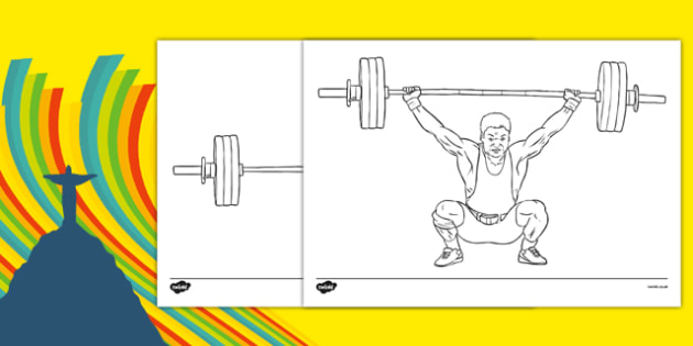 The Olympics Weightlifting Colouring Sheets - weightlifting, lifting, weights, Olympics, Olympic Games, sports, Olympic, London, 2012, colouring, fine motor skills, poster, worksheet, vines, A4, display, activity, Olympic torch, medal, Olympic Rings,